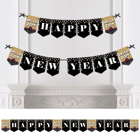 Pop, Fizz, Clink! - 2019 New Year's Eve Party Bunting Banner - Gold Party Decorations - Happy New Year (New Years Eve Banners)