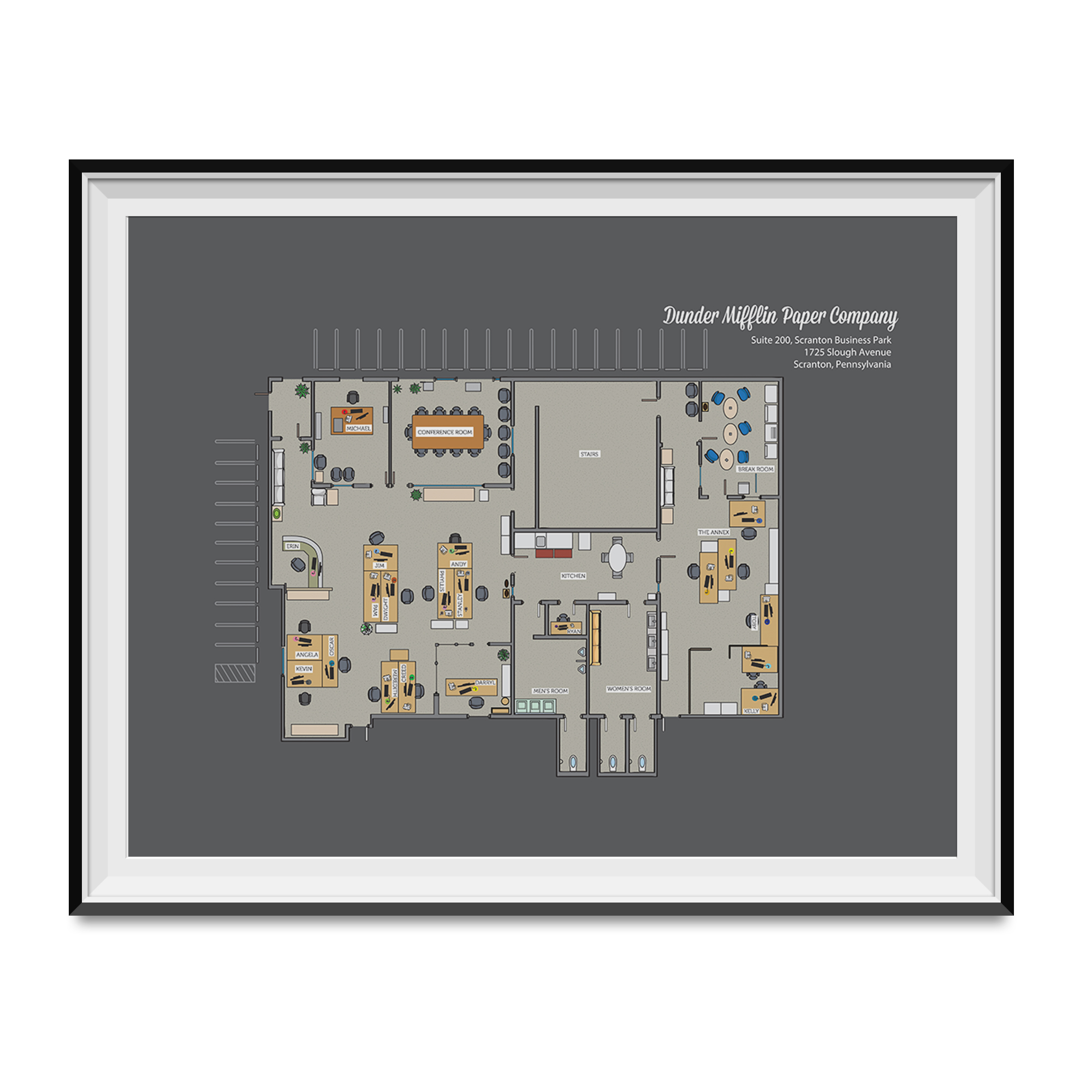 Dunder Mifflin Paper Company Floor Plan Poster The Office Tv Show