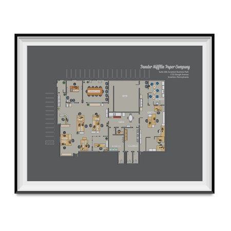 - Dunder Mifflin Paper Company Floor Plan Poster The Office TV Show Blueprint Gift