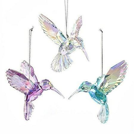 Acrylic Hummingbird Christmas Tree Ornaments, Pink/Iridescent, 3-Inch, (Bird Seed Christmas Ornaments)