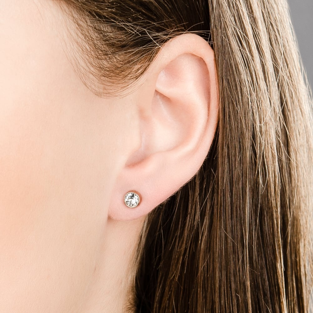 Swarovski Blue Crystal Solitaire Studs Pierced Earrings Rhodium 5101342