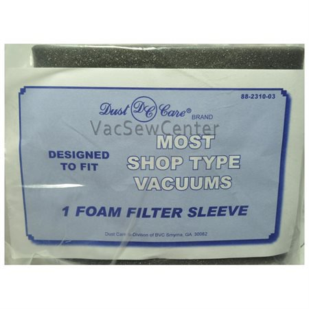 Shop Vac Foam Filter Over Motor Cage, Fits: most Shop Vacs, Dust Care Replacement Brand, designed to fit Shop Vac type Vacuum Cleaners, 1 Foam Filter Sleeve in (Dust Foam)