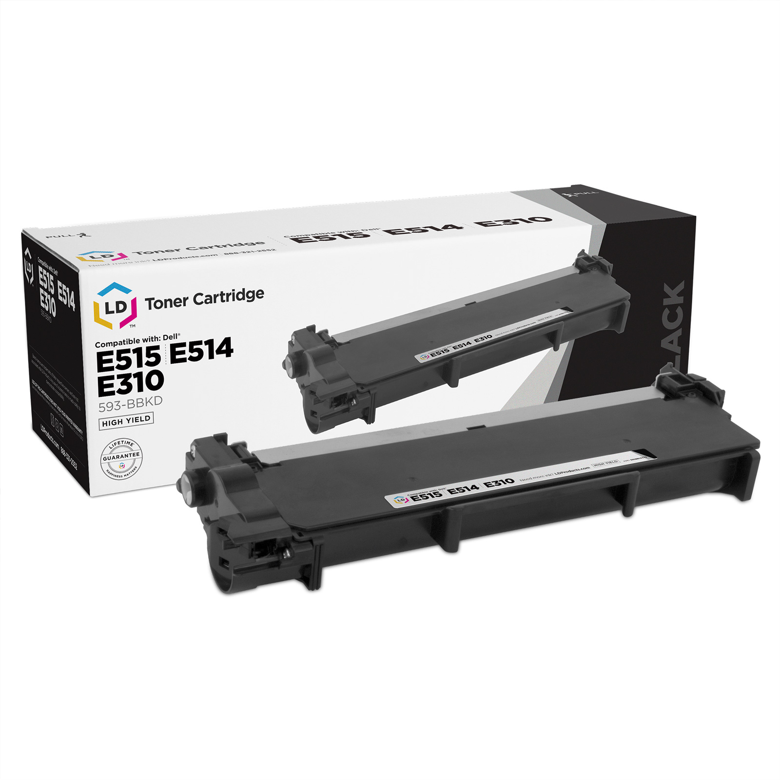 LD © Compatible 2,600 Page Black Toner Cartridge (P7RMX) for Dell E310/514dw/515dw Laser Printers