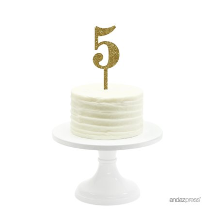 Gold Glitter Number 5 Acrylic Birthday Cake Topper