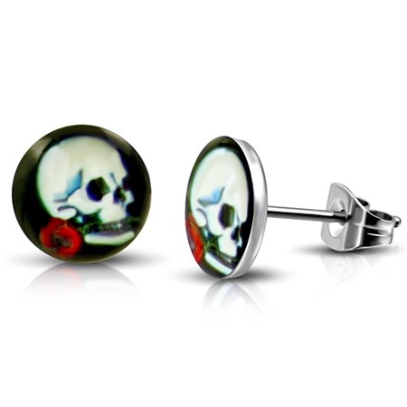 Stainless Steel Vintage Day of the Dead Skull Red Rose Circle Round Button Stud Post Earrings