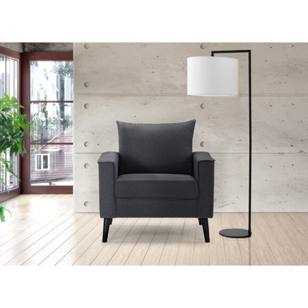 Modern Linen Fabric Armchair Accent Chair for Living Room / Bedroom, Dark  Gray