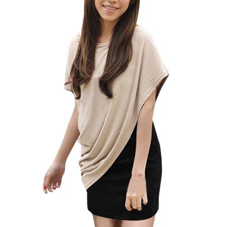 Unique Bargains Womens Beige Black Short Sleeve Scoop Neck Blouse Top W Tank Dress Set  Size L   12