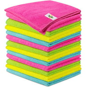Microfiber Cleaning Cloth by SCRUBIT- Lint Free Anti-Bacterial Towels for House, Kitchen, Cars, Windows -Ultra Absorbent and Super Soft Wash Cloths -12 Pack (12 x 12 Inches)