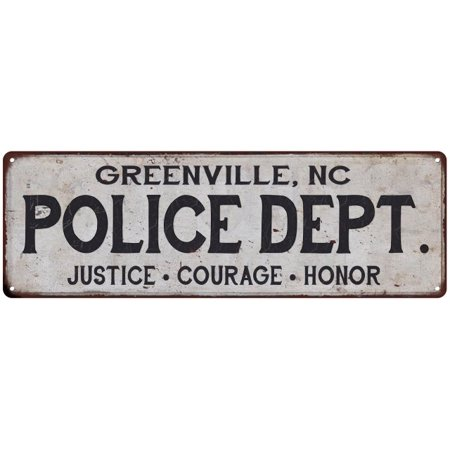GREENVILLE, NC POLICE DEPT. Home Decor Metal Sign Gift 6x18 206180012339 - Halloween Stores Greenville Nc