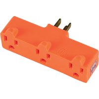 GE Heavy Duty 3-Outlet Power Outlet Adapter Wall Tap, Orange, 54541