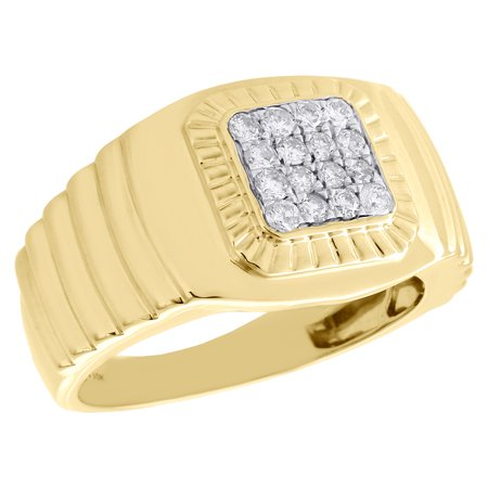 10K Yellow Gold Diamond Fluted Bezel Step Shank Pink Ring Wedding Band 1/2 CT.