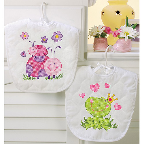 "Dimensions Baby Hugs ""Fairy"" Bibs Stamped Cross Stitch Kit, 9"" x 14"", Set of 2"
