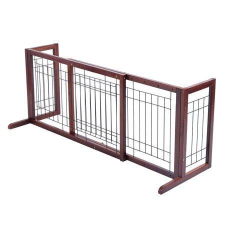 Wood Gate Adjustable Pet Fence Playpen PS6090 SD ()