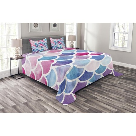 Fish Scale Bedspread Set, Circles with Pastel Watercolors Mermaid Pattern Tropical Artistic Illustration, Decorative Quilted Coverlet Set with Pillow Shams Included, Multicolor, by Ambesonne ()