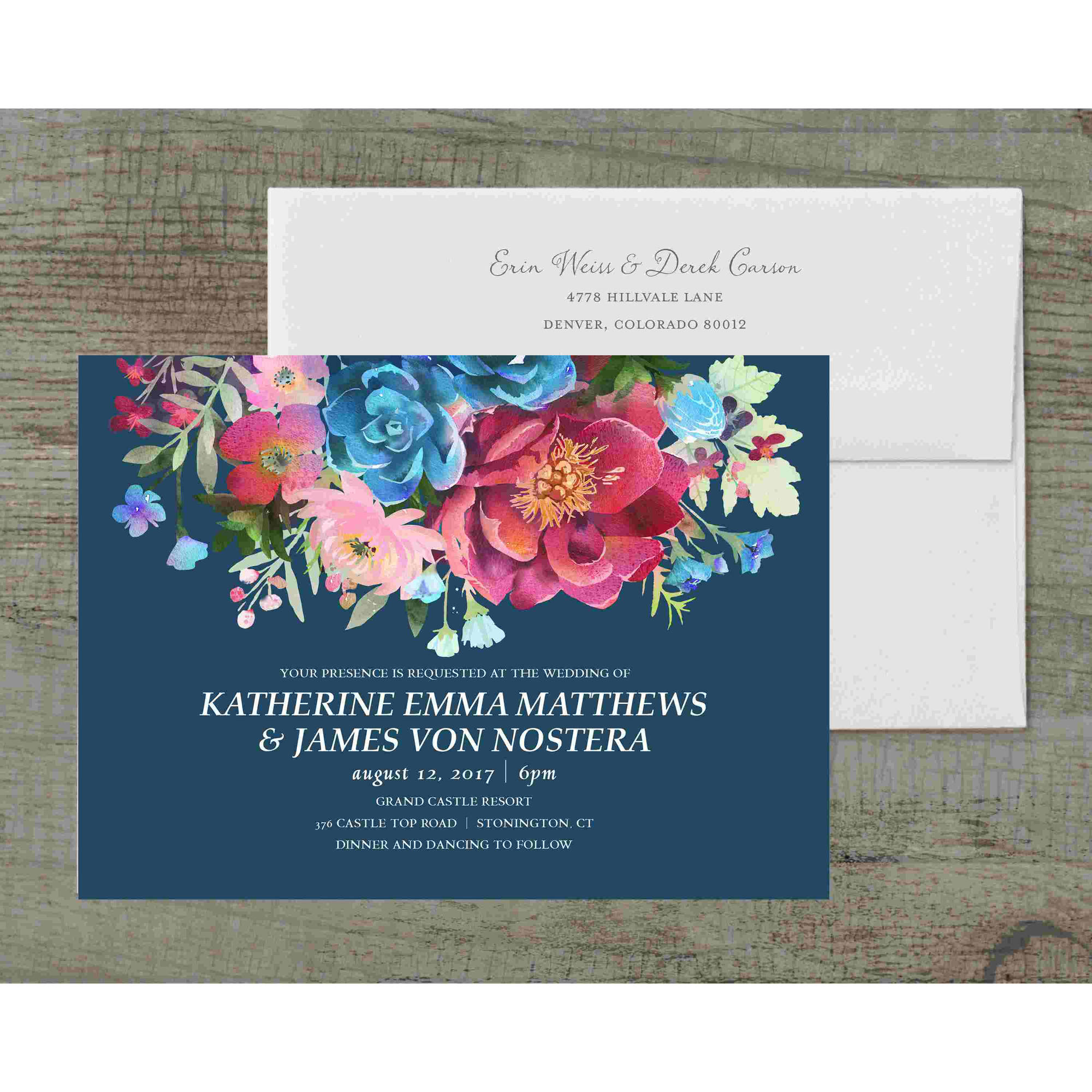 Woodland Floral Deluxe Wedding Invitation