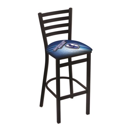 "L004 - 25"" Black Wrinkle Eastern Illinois Stationary Counter Stool with Ladder Style Back by the Holland Bar Stool Co."