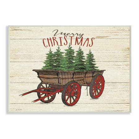 The Stupell Home Decor Collection Merry Christmas Tree Wagon Oversized Wall Plaque (Tree Wall Plaque)