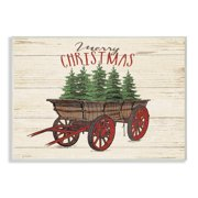 the stupell home decor collection merry christmas tree wagon oversized wall plaque art