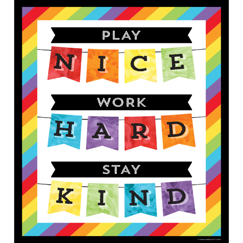 Celebrate Learning Play Nice Work Hard Stay Kind Decorative Chart