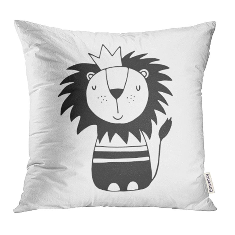 YWOTA Kids Cute Lion Nursery in Scandinavian Style Monochrome Animal Awesome Baby Black Pillow Cases Cushion Cover 16x16 inch