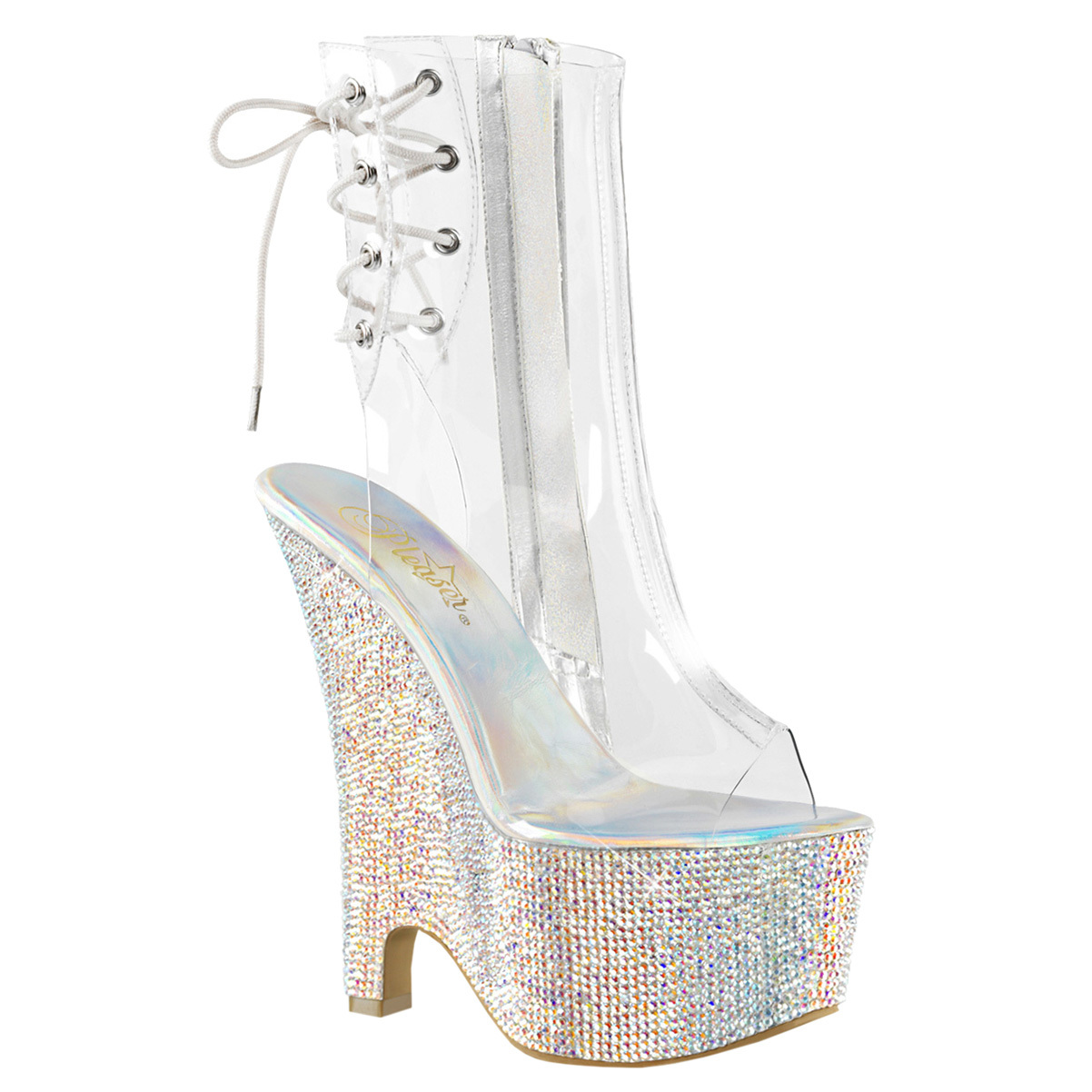 womens ankle wedge boots clear high heels rhinestone shoes