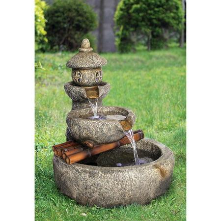 Design Toscano Tranquil Springs Pagoda Garden Fountain ()