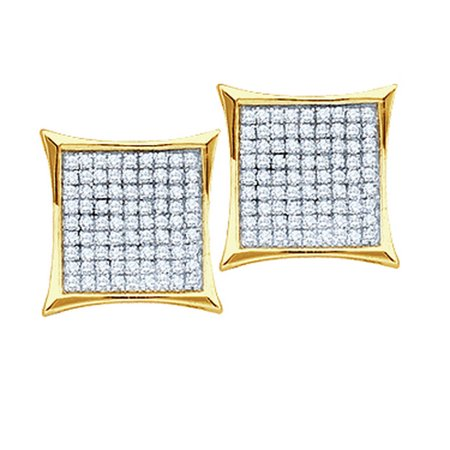 - 10kt Yellow Gold Womens Round Diamond Square Cluster Earrings 1/6 Cttw = .15 Cttw (I3 Clarity, round cut)