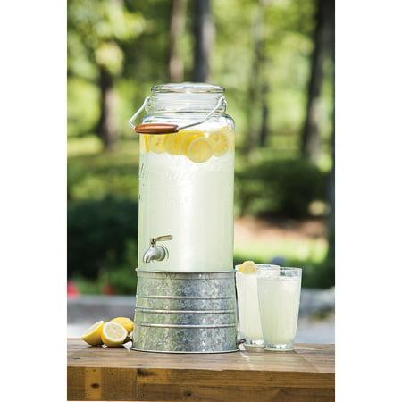 2.5 Gallon Glass Beverage Dispenser with Galvanized Steel Base