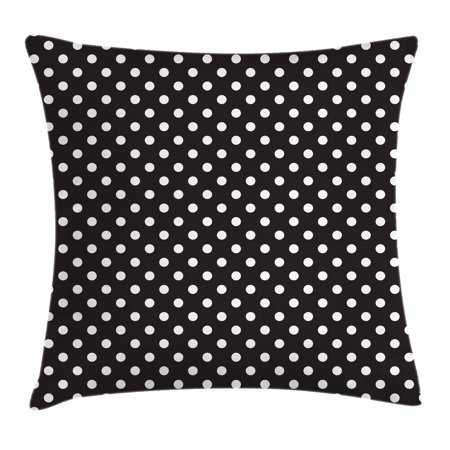 Cushion Polka - Black and White Throw Pillow Cushion Cover, Classical Pattern of White Polka Dots on Black Traditional Vintage Design, Decorative Square Accent Pillow Case, 18 X 18 Inches, Black White, by Ambesonne