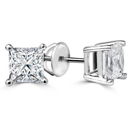 0.625 Mounting Stud (Majesty Diamonds MD160427 0.625 CTW Solitaire Princess Cut Diamond Stud Earrings in)