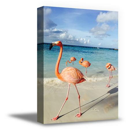 Awkward Styles Seacape Canvas Artwork Flamingo Room Wall Decor Flamingo Canvas Decor Ideas Ready to Hang Picture Home Decor Ideas Flamingos Illustration Pink Room Wall Art Beach Decals Room Decoration ()