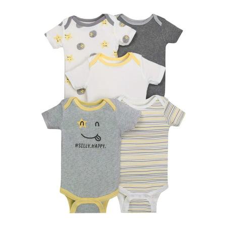 Little Star Organic Newborn Baby Boy or Girl Unisex Assorted Short Sleeve Bodysuit, 5-pack ()