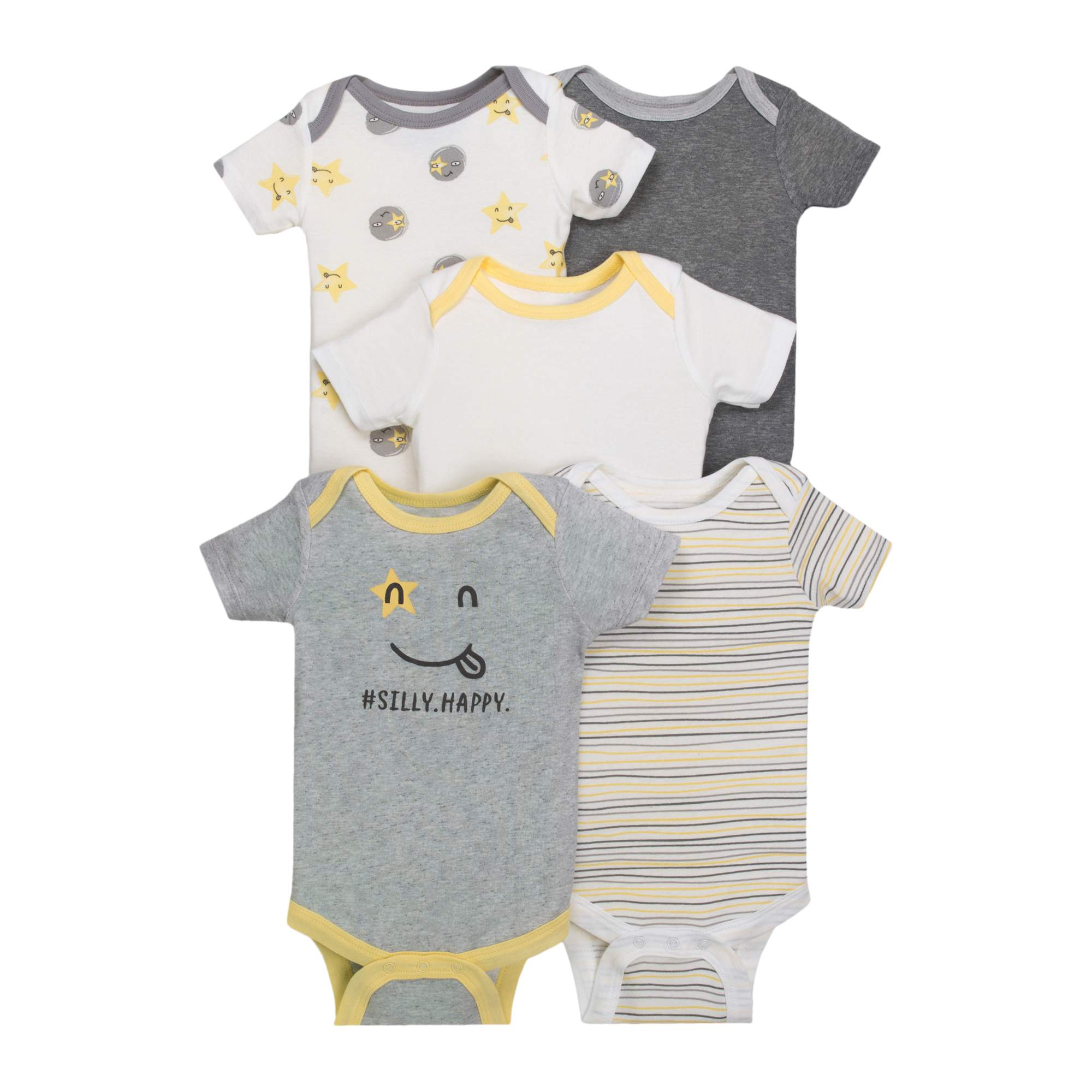 Newborn Baby Boy or Girl Unisex Assorted Short Sleeve Bodysuit, 5-pack