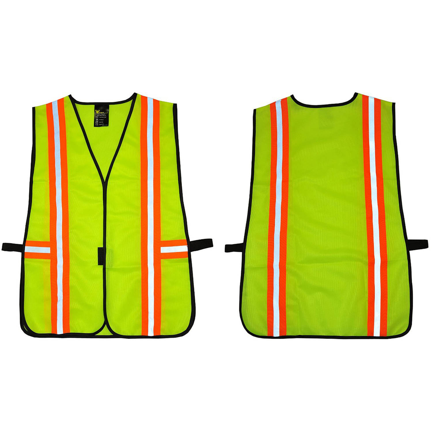G & F Industrial Safety Vest with Reflective Strips, Neon Lime Green