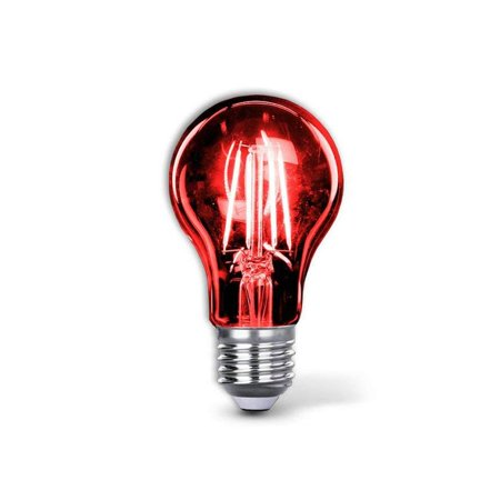 Red Led Light Bulb A19 3.5 Watt E26 Medium Base 27,000 Hour Lifespan Clear Glass Lights up Red Saving Energy Dimmable (Red) ()