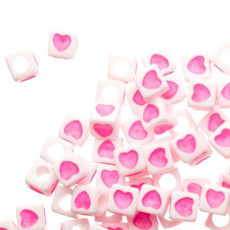 Heart Beads (Pink Heart Emoji Spacer Acrylic Beads)