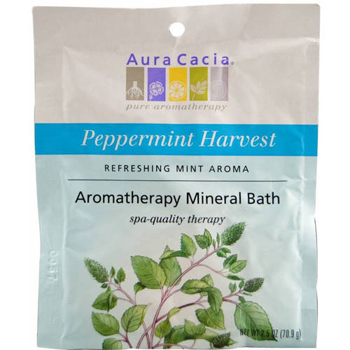Aura Cacia Aromatherapy Mineral Bath Refreshing Peppermint Harvest , 2.5 OZ (Pack of 4)
