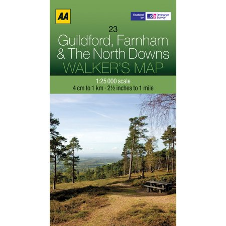 Walker's Map Guildford, Farnham & The North Downs