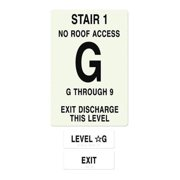 INTERSIGN NFPA-PVC1812-X(1GN9) NFPA Sign,Floors Served G to 9 G0267989