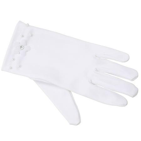 Angels Garment Little Girls White Beaded Flower Girl Communion Gloves 4/7