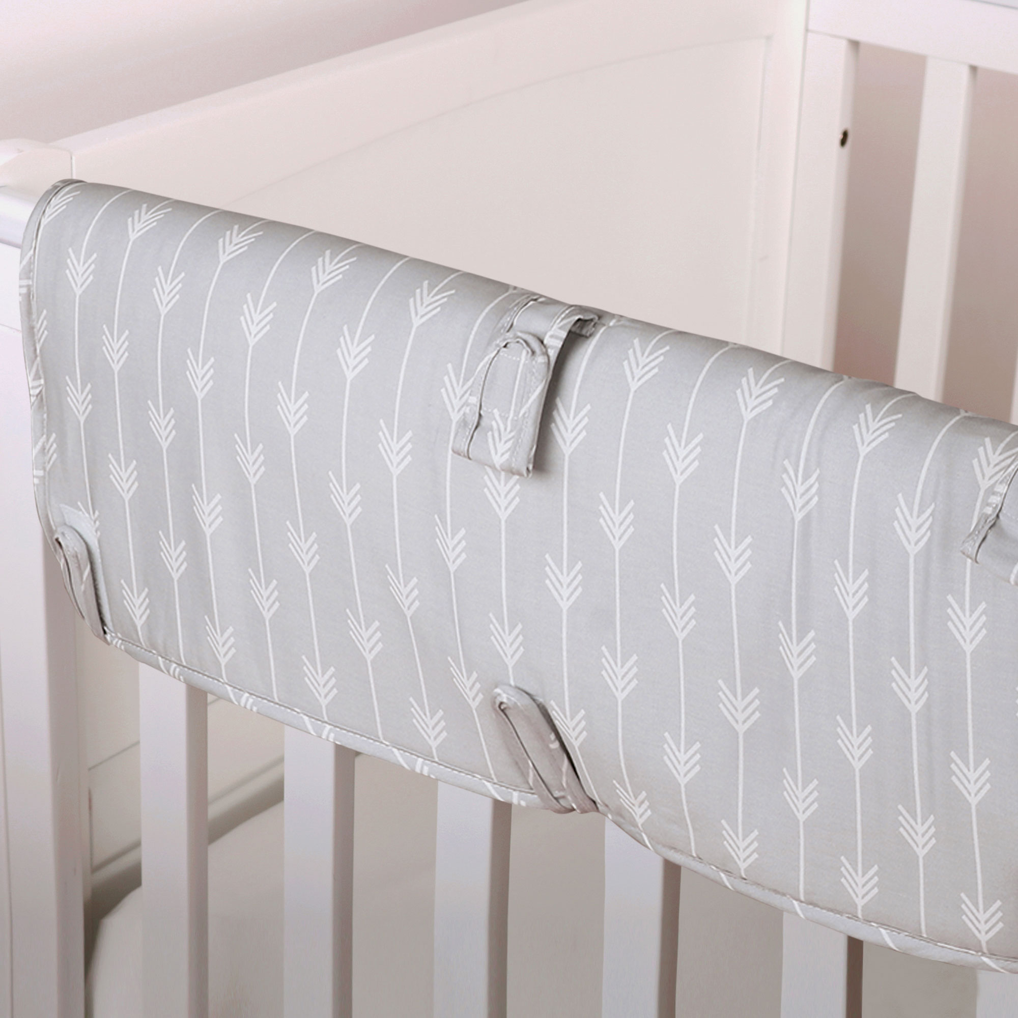 The Peanut Shell Baby Crib Rail Guard - Grey Arrow Geometric Print - 100% Cotton Sateen Cover, Polyester Fill