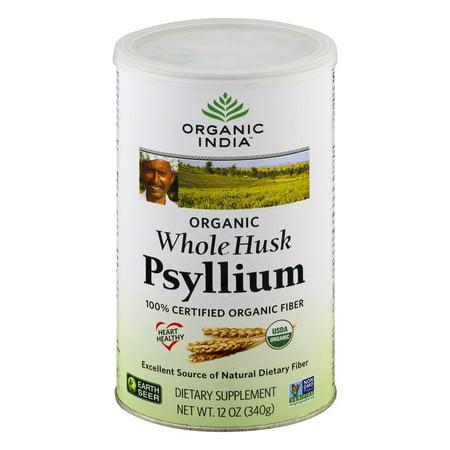 Organic India Whole Husk psyllium 100% certifié Supplément Fibres alimentaires bio, 12,0 OZ