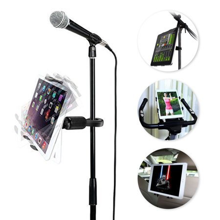 EEEKit Phone Tablet Mic Mount 360° Rotating Microphone Music Stand Pole Bar Gym Treadmill Exercise Bicycle Cradle Holder for Apple iPad Pro/Air/Mini, Samsung Tab, iPhone Xs XS MAX XR