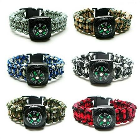 Compass Paracord Bracelet Set for Men Teen Boys 6 Pack Survival Emergency Tactical Bracelets Braided with 550 lbs Parachute Cor](Parachute Cord Bracelets)