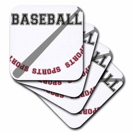 3dRose Baseball Bat sports theme art, Soft Coasters, set of 8](Baseball Theme)