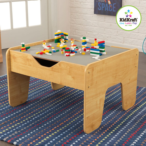 KidKraft 2-in-1 Activity Play Table with Board, Gray/Natural