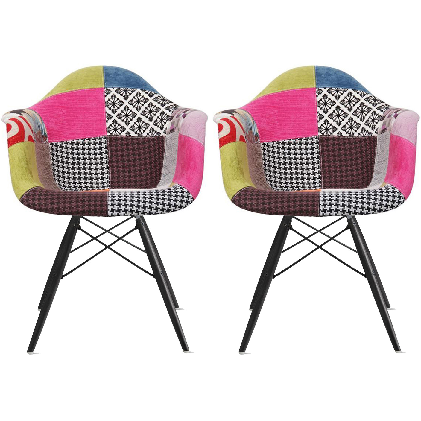 2xhome - Set of 2 (Two) Multi-color Ann - Modern Upholstered Style Armchair Fabric Chair Patchwork Multi-Pattern Black Wood Leg Dining Room Chair With Arm