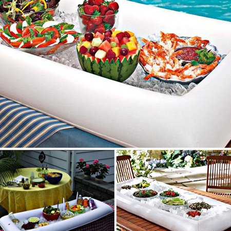 [Novelty Place] Inflatable Ice Serving Bar with Drain Plug - Salad Food & Drinks Tray for Party Picnic & Camping