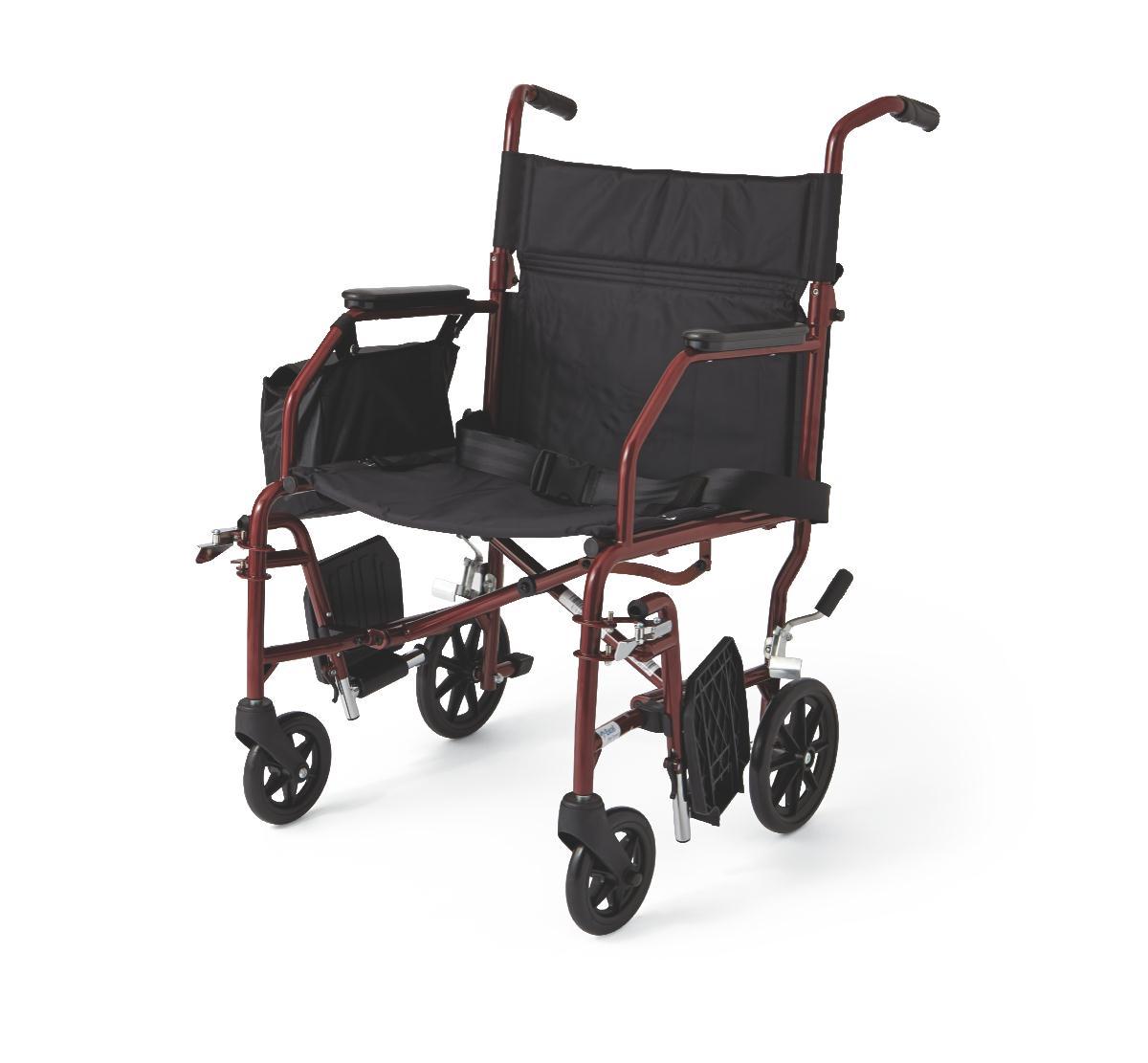 "Medline Basic Steel Transport Wheelchair with 19"" Wide Seat, Burgundy"