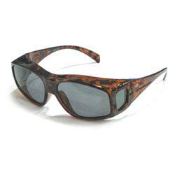 b867bcb7d6d16 Birdz Eyewear Beak 1.1 mm Polarized Sunglasses Brown Tortoise Print Frame ( Over-Prescription glasses) 100% UV 400 protection Micro-fiber carry bag  included ...